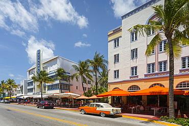 Vintage cab on Ocean Drive, South Beach, Miami Beach, Miami, Florida, United States of America, North America