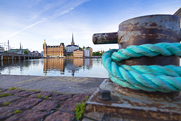 View of Quayside rope and Riddarholmen at dawn from near Town Hall, Stockholm, Sweden, Scandinavia, Europe