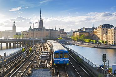 Riddarholmen Church and train from Sodermalm, Stockholm, Sweden, Scandinavia, Europe