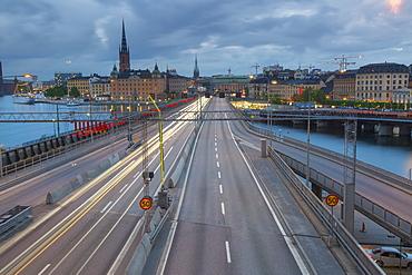 Riddarholmen Church and city skyline, Centralbron from Sodermalm, Stockholm, Sweden, Scandinavia, Europe