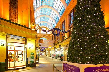 The Exchange interior at Christmas, Nottingham, Nottinghamshire, England, United Kingdom, Europe