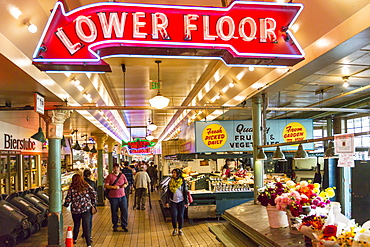 Neon lights and stalls in Farmers Market, Pike Place Market, Belltown District, Seattle, Washington State, United States of America, North America