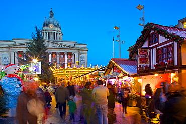 Council House, Christmas Market and carousel, Market Square, Nottingham, Nottinghamshire, England, United Kingdom, Europe