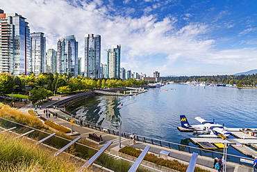View of seaplane and urban office buildings around Vancouver Harbour, Downtown, Vancouver, British Columbia, Canada, North America