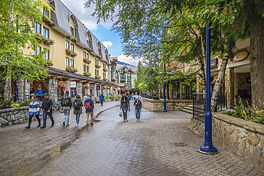 Shops and visitors on Village Stroll, Whistler Village, British Columbia, Canada, North America