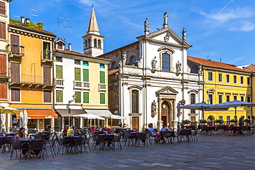 View of cafes and architecture surrounding Piazza dei Signori, Vicenza, Veneto, Italy, Europe