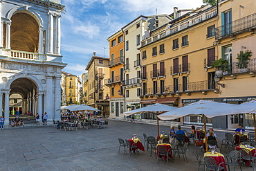View of cafes and architecture in Piazza Signori, Vicenza, Veneto, Italy, Europe