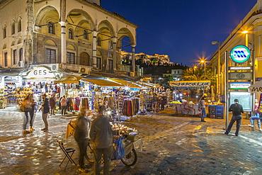 View of Museum of Ceramics and market stalls in Monastiraki Square at dusk, Monastiraki District, Athens, Greece, Europe