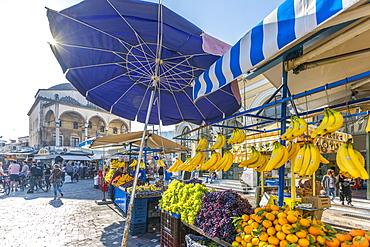 View of Museum of Ceramics and market stalls in Monastiraki Square, Monastiraki District, Athens, Greece, Europe