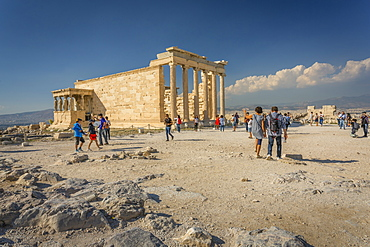View of Erechtheion Temple with six Caryatids, The Acropolis, UNESCO World Heritage Site, Athens, Greece, Europe