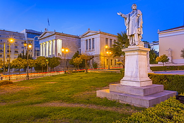View of the statue and National Library of Greece at dusk, Athens, Greece, Europe