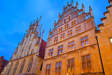 Historic Town Hall on Prinzipalmarkt at Christmas, Munster, North Rhine-Westphalia, Germany, Europe