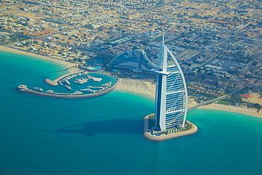 View of Burj Al Arab from seaplane, Dubai, United Arab Emirates, Middle East