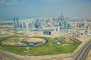 View of Burj Khalifa and city skyline from seaplane, Dubai, United Arab Emirates, Middle East