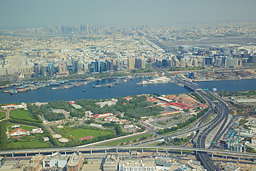 View of The Creek from seaplane. Dubai, United Arab Emirates, Middle East