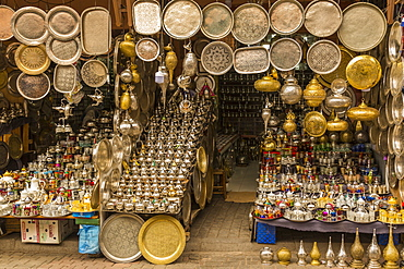 Colourful souvenirs for sale in the Market At Rahba Qedima, Marrakesh (Marrakech), Morocco, North Africa, Africa