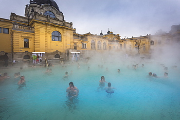 View of outside thermal spa at Szechenhu Thermal Bath in winter, Budapest, Hungary, Europe