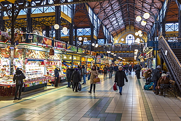 View of stalls in the interior of Budapest Central Market, Budapest, Hungary, Europe