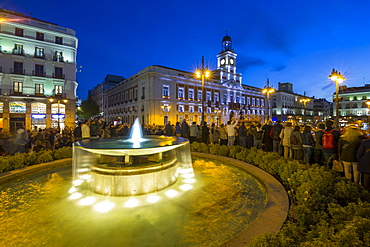 View of King Carlos lll statue and Easter Parade, Puerta del Sol at dusk, Madrid, Spain, Europe