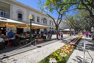 Al Fresco restaurants and Flower Festival on Avenue Arriaga during springtime, Funchal, Madeira, Portugal, Atlantic, Europe
