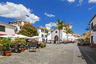 View of old town restaurants on sunny spring day, Funchal, Madeira, Portugal, Atlantic, Europe