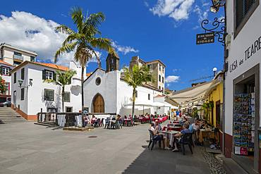 View of old town restaurants on sunny spring day, Funchal, Madeira, Portugal, Europe