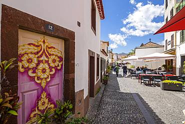 View of back street and beautifully painted door, Funchal, Madeira, Portugal, Europe