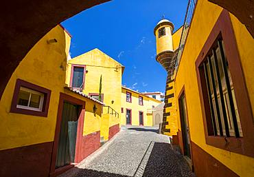 View of Fortress courtyard through archway, Funchal, Madeira, Portugal, Atlantic, Europe