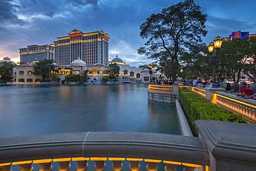 View of Caesars Palace at dusk, The Strip, Las Vegas Boulevard, Las Vegas, Nevada, United States of America, North America