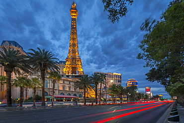 View of the Paris Eiffel Tower at dusk, The Strip, Las Vegas Boulevard, Las Vegas, Nevada, United States of America, North America