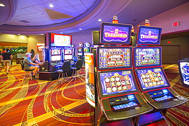 Slot machines in the Stratosphere Hotel and Casino, The Strip, Las Vegas Boulevard, Las Vegas, Nevada, United States of America, North America