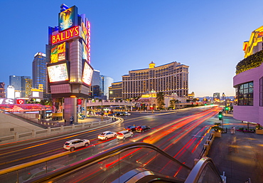 View of traffic and trail lights on The Strip, Las Vegas Boulevard, Las Vegas, Nevada, United States of America, North America