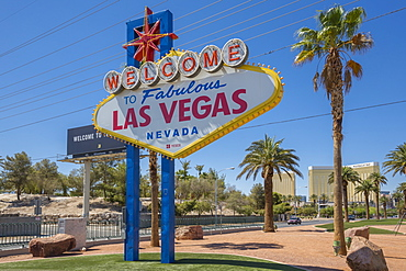 View of Welcome to Fabulous Las Vegas sign on The Strip, Las Vegas Boulevard, Las Vegas, Nevada, United States of America, North America