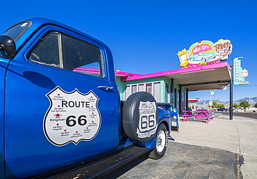 View of vintage station wagon and Mr D'z Diner on Route 66 in Kingman, Arizona, United States of America, North America