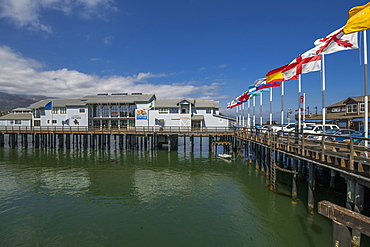 View of flags on Stearns Wharf, Santa Barbara, Santa Barbara County, California, United States of America, North America
