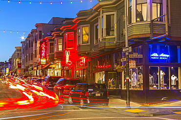 Club signs and shops in North Beach district, San Francisco, California, United States of America, North America