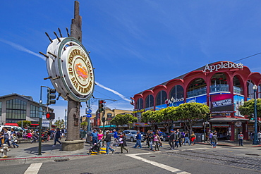 View of Fishermans Wharf sign, San Francisco, California, United States of America, North America