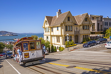 Cable Car on Hyde Street and Alcatraz visible in background, San Francisco, California, United States of America, North America