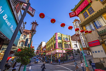 View of traditionally decorated street in Chinatown, San Francisco, California, United States of America, North America