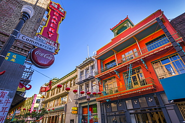 View of brightly coloured architecture in Chinatown, San Francisco, California, United States of America, North America