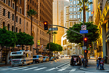 Street scene in Downtown LA during golden hour, Los Angeles, California, United States of America, North America