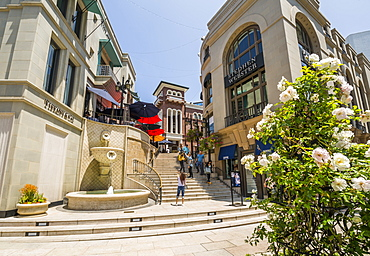 View of Rodeo Drive Steps on Rodeo Drive, Beverly Hills, Los Angeles, California, United States of America, North America