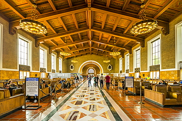View of interior of Union Station, Los Angeles, California, United States of America, North America