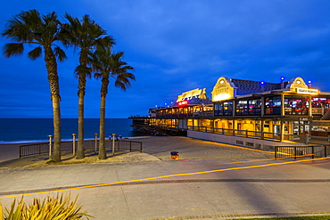 View of Redondo seafront pier at dusk, Los Angeles, California, United States of America, North America