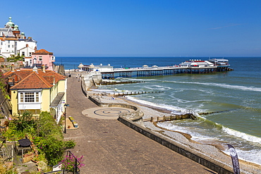 Cromer Pier and North Sea on a summer day, Cromer, Norfolk, England, United Kingdom, Europe