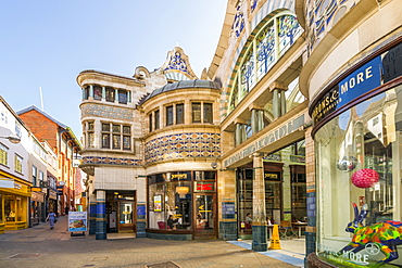 View of the entrance to The Royal Arcade, Norwich, Norfolk, England, United Kingdom, Europe