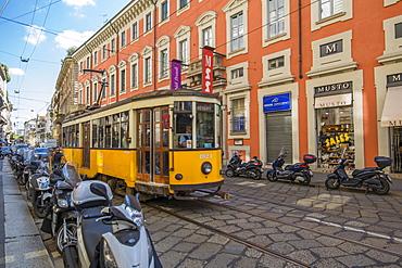City tram passing Museum Poldi Pezzoli on Via Alessandro Manzoni, Milan, Lombardy, Italy, Europe