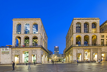 View of Museo del Novecento in Piazza Del Duomo at dusk, Milan, Lombardy, Italy, Europe