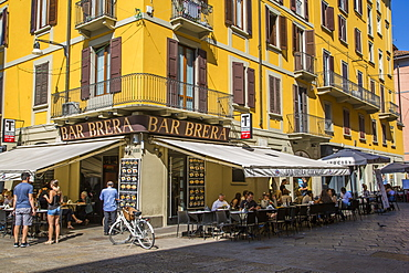 View of bar and colourful architecture in Brera District, Milan, Lombardy, Italy, Europe