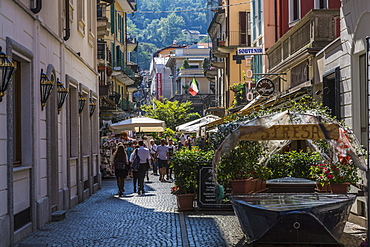 View of busy street in Stresa, Lago Maggiore, Piedmont, Italian Lakes, Italy, Europe